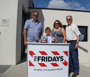 Crosbie Cup winner Conor Gorman pictured with (from left to right): Aidan Staunton, President, IODAI, Brenda Kearns, COO, EE Group (sponsor, TGI Fridays), Graham Smith, Commodore, Malahide Yacht Club