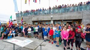 Hundreds of competitors and supporters crowding the balconies at Lough Derg Yacht Club in Dromineer during the opening ceremonies of the Irish Optimist National Championships.
